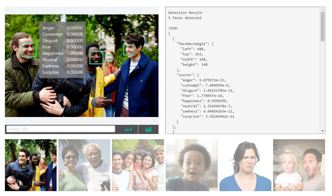 Figure 2 - Emotion API  (Demo on line)