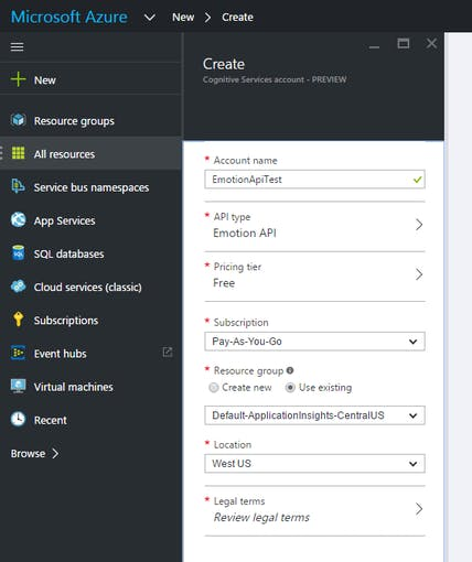 Azure - Create Cognitive service in your Azure