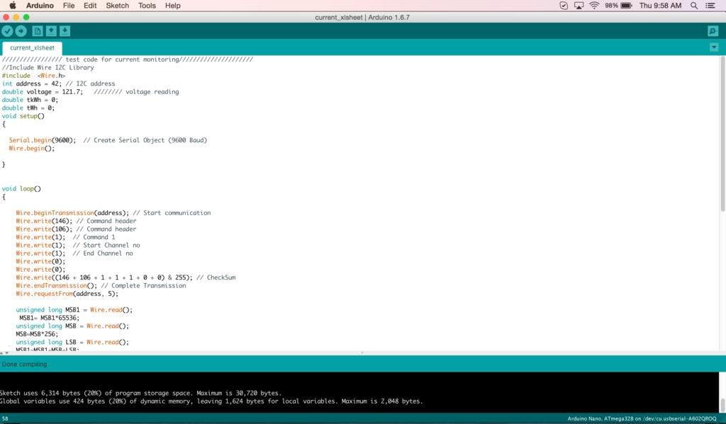 arduino code for current measurement