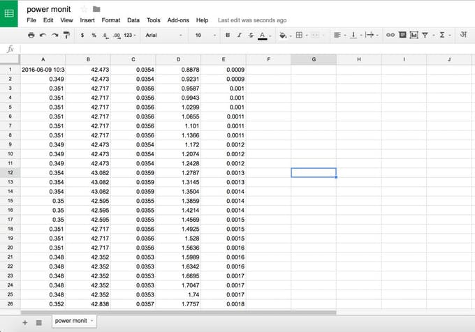 google sheet power monit
