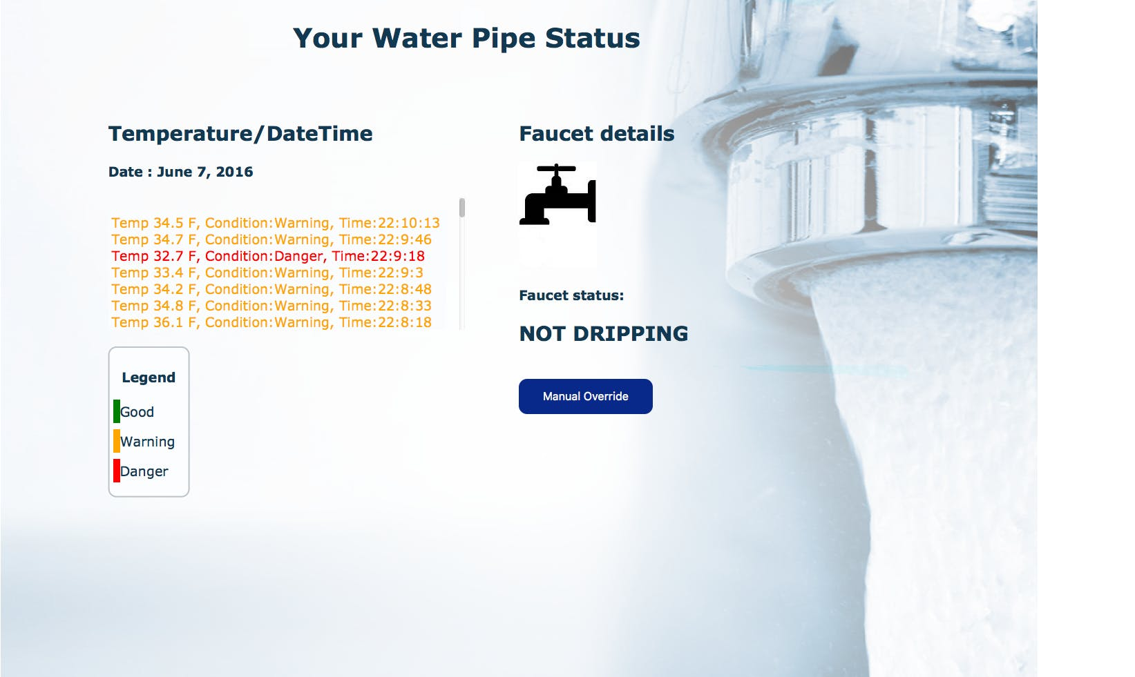 Website displaying water temperature in real time