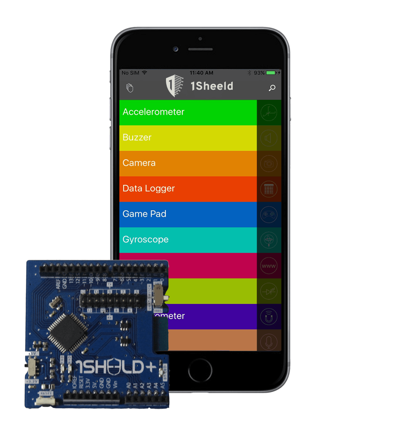 1Sheeld+ (iOS and Android shield for Arduino)