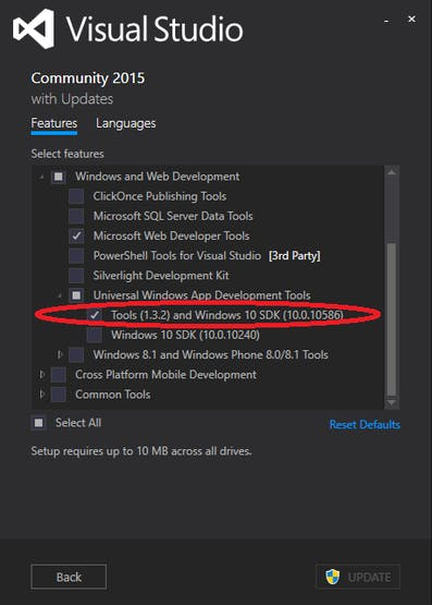 Update your installation of Visual Studio 2015 Update 2 to ensure that the Windows 10 SDK is installed.