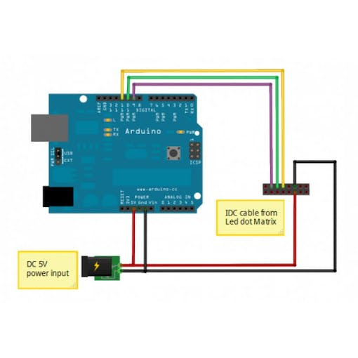Interfacing arduino uno with sure electronics led dot