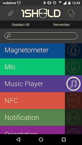 Select music player shield in 1Sheeld app