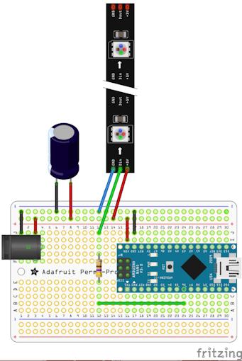 Fritzing diagram of the NeoPixel Controller