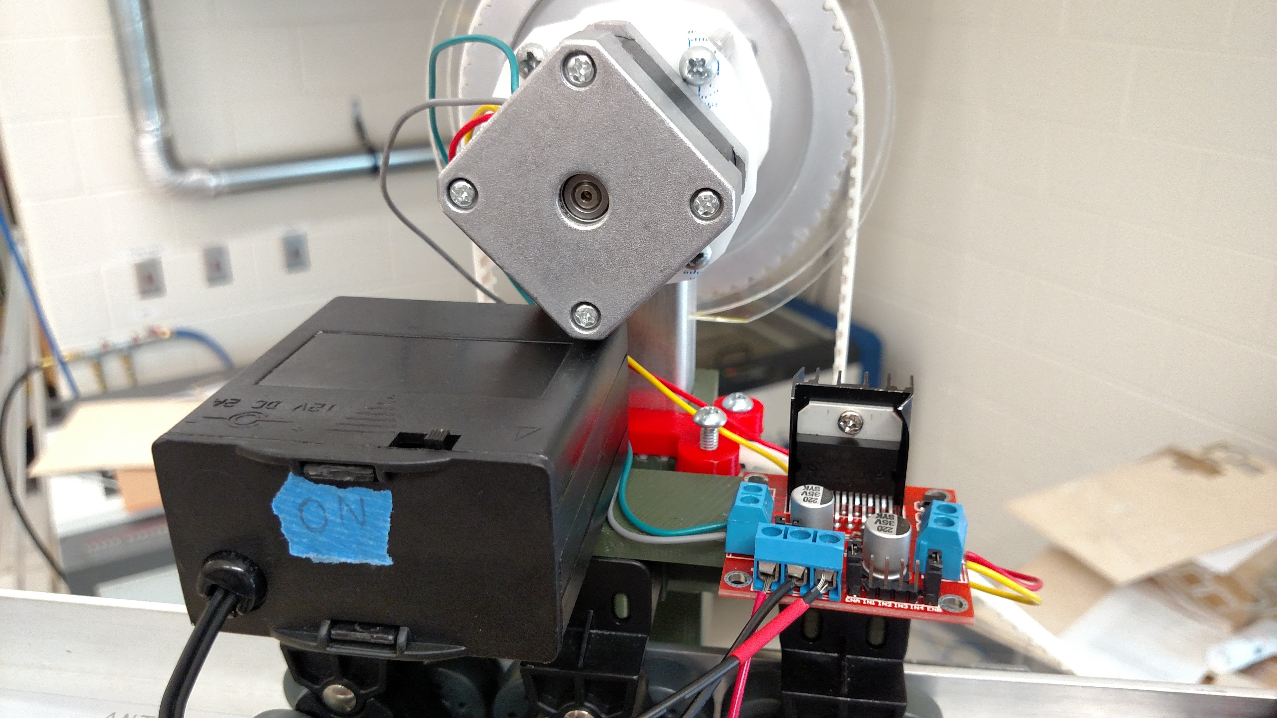 A close up image of the Y control system