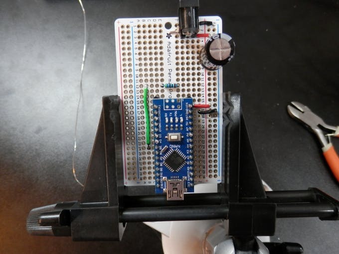 1000 uF Capacitor installed on Perma-Proto board