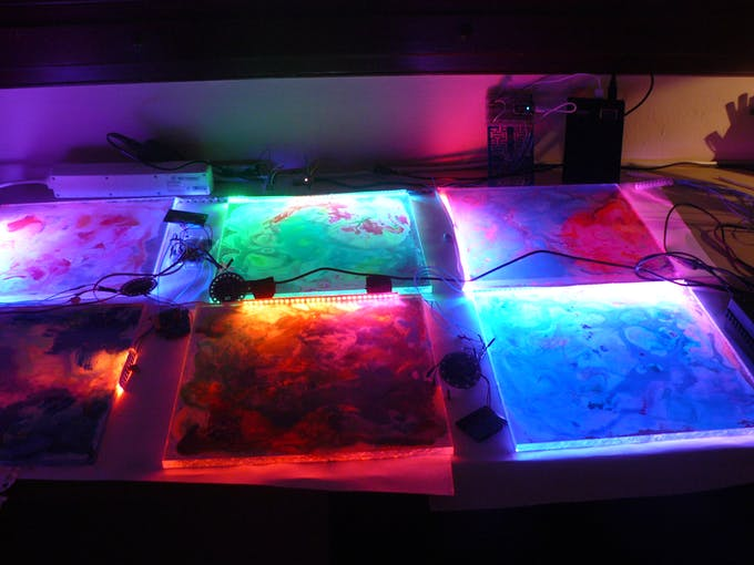 Lilypad,Particle Photon,NeoPixels, it was so cool :) just like a living entity