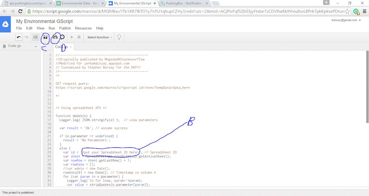 Script Editor View with our code