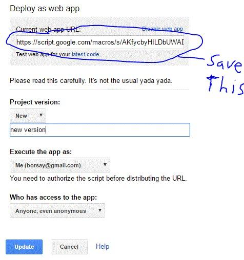 Save App URL and configure web deployment