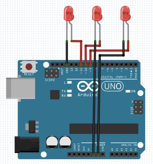 Arduino Uno with 3 LEDs