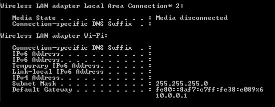 Example of Output from a ipconfig command