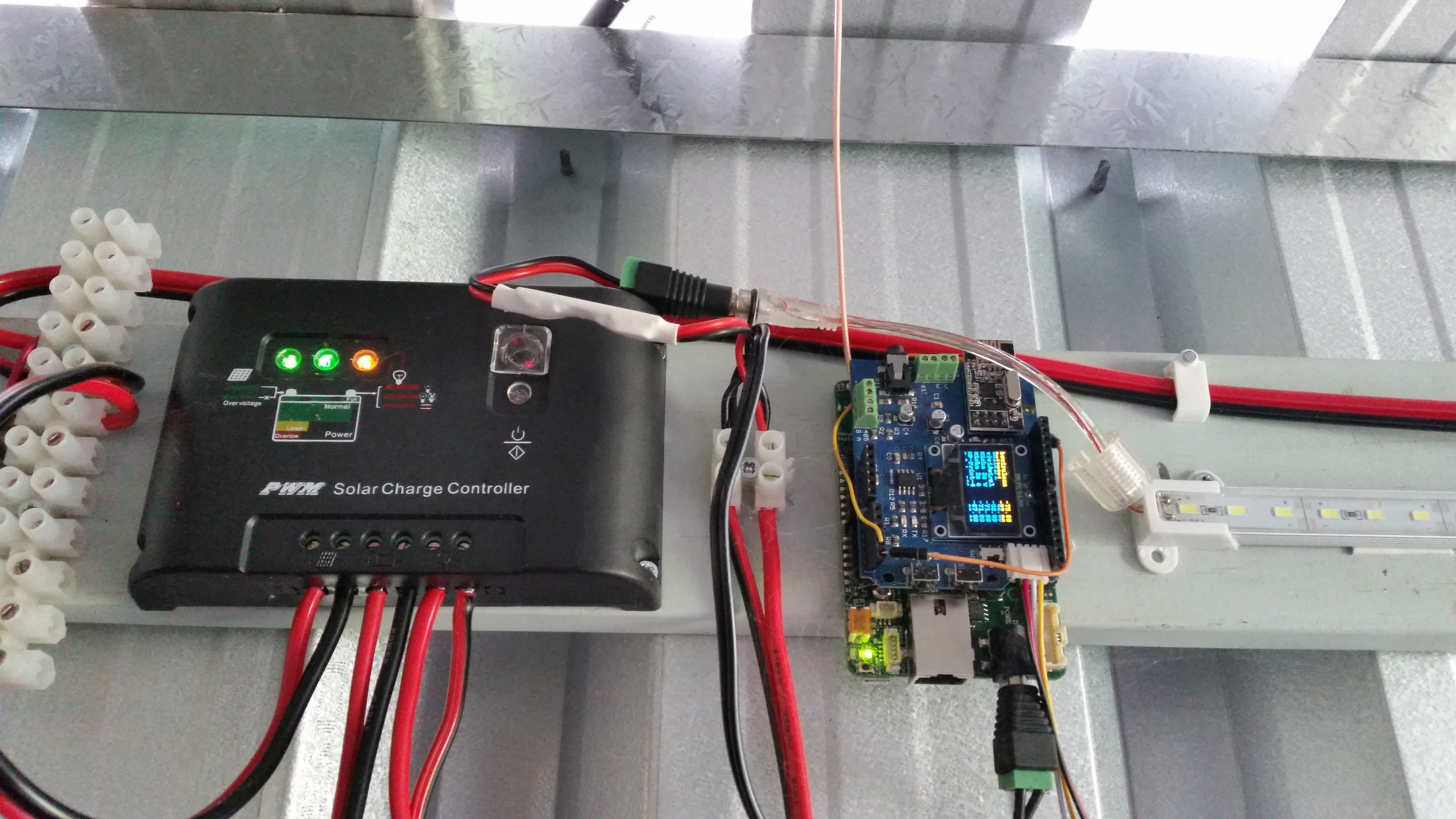 UDOO installed in the shed, Solar charge controller to be replaced