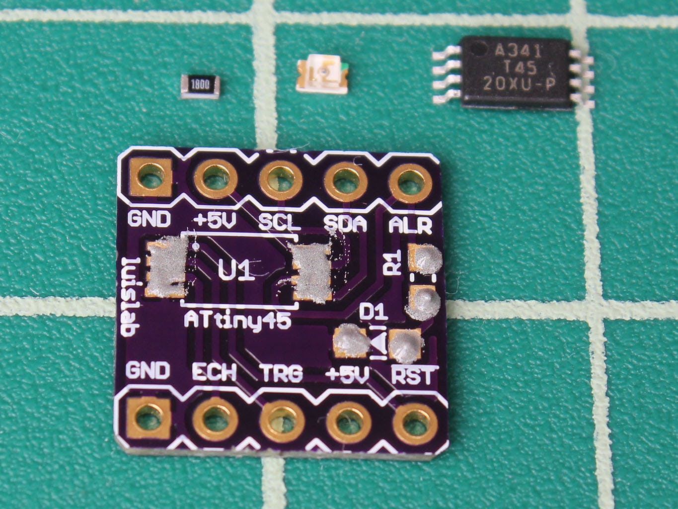 ATtiny45 board with solder paste