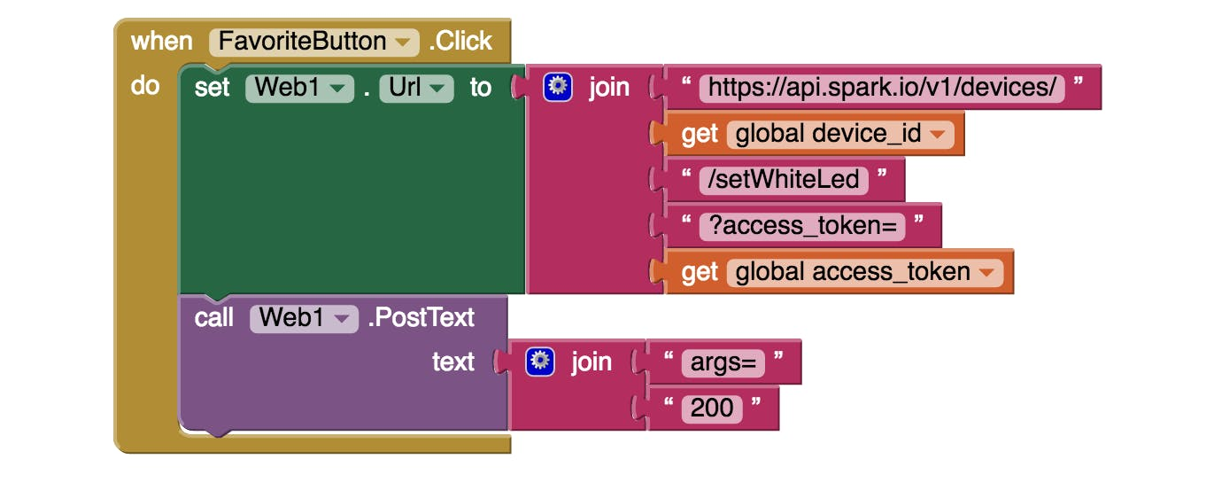 """MIT App Inventor """"Button Press"""" Block Action for interacting with the Spark Core"""