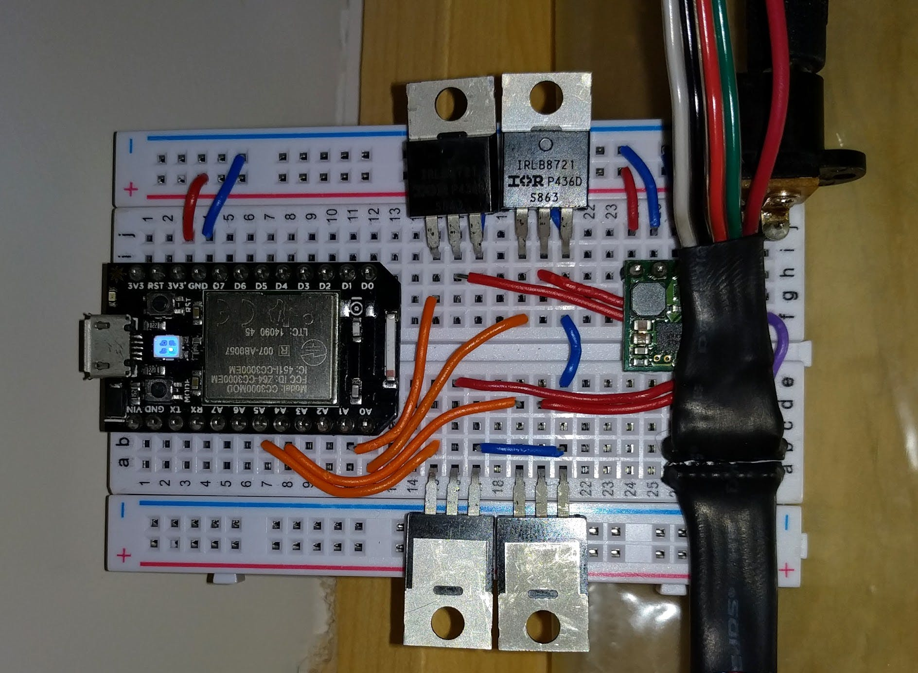 this shows the board powered up with the LED strip connectons on the lower right