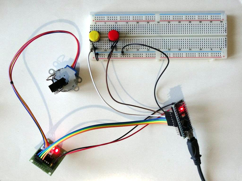 Arduino Nano And Visuino Control Stepper Motor With Buttons Step 4 Wire The Push Button Switch