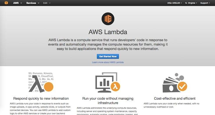 AWS Lambda main page