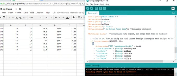 MKR1000 to Google Sheet output