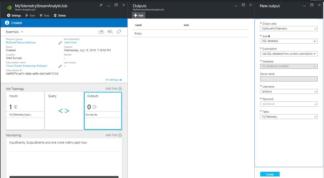 SAJ - Output to SQL Azure DB