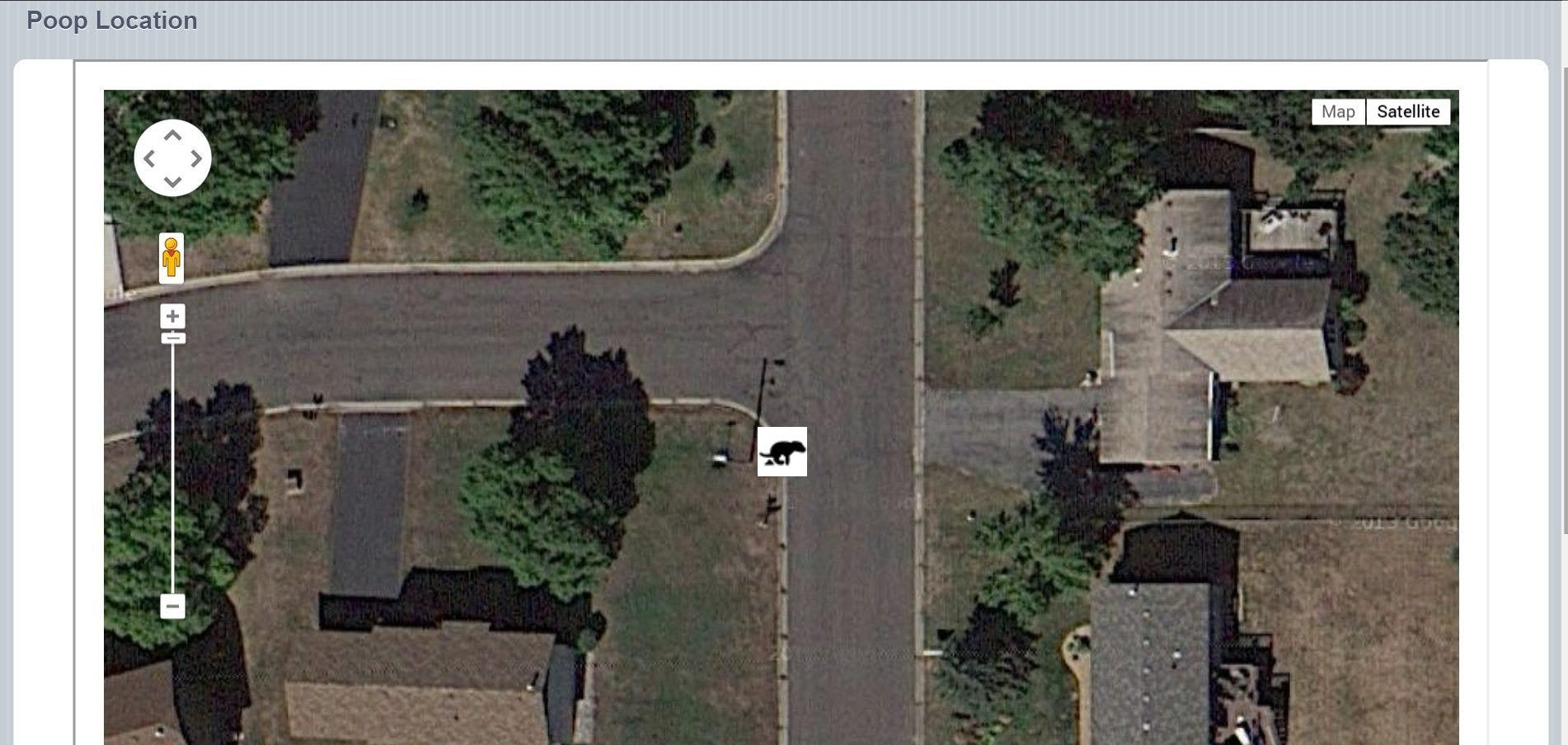 Google map of poop location.