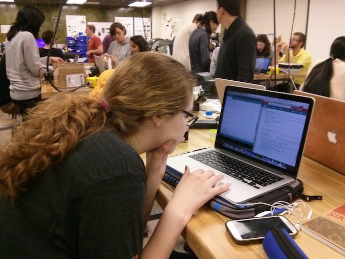 Alex coding busily