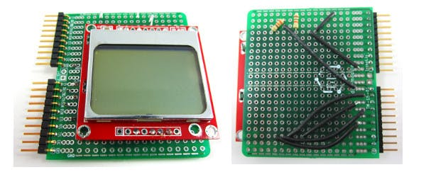 The Nokia5110 screen soldered to a double-wide DIY module.