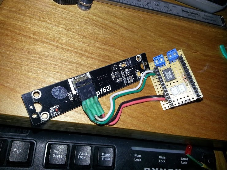 back of the OLED and PCB with digital relay mounted