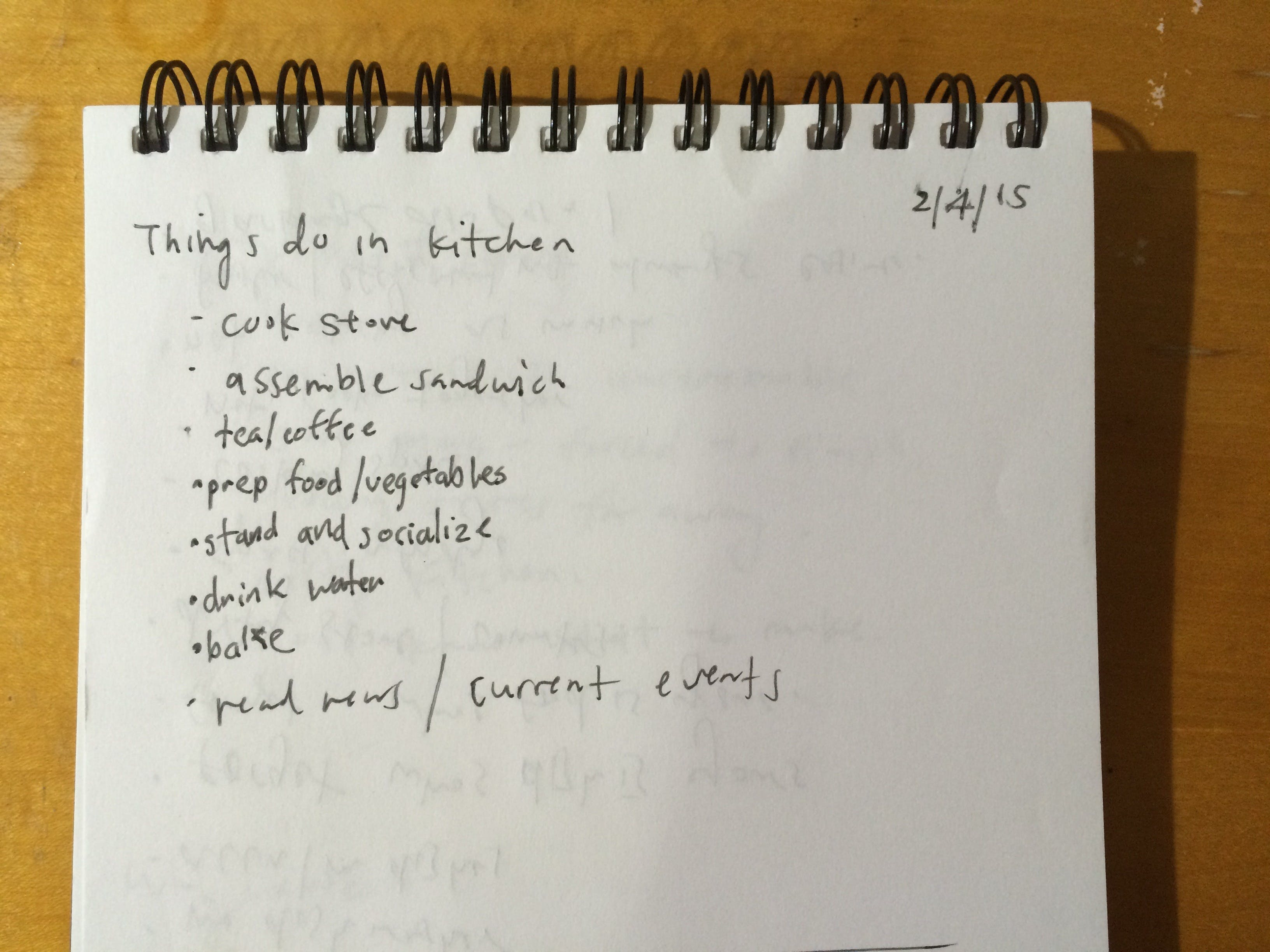 Listing out things we do in the kitchen.