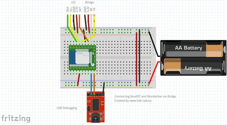 "chematics of the ""WunderBar Bridge"" expansion with Arduino and I2C sensor"