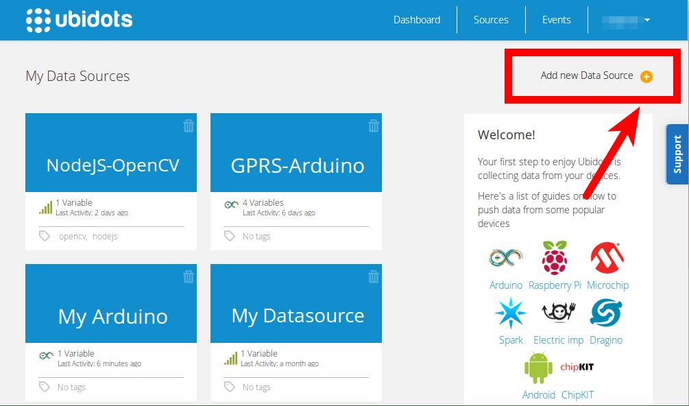 Once inside Ubidots, add a new data source
