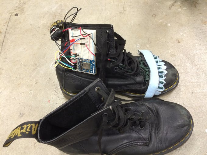 The wiring for the shoe