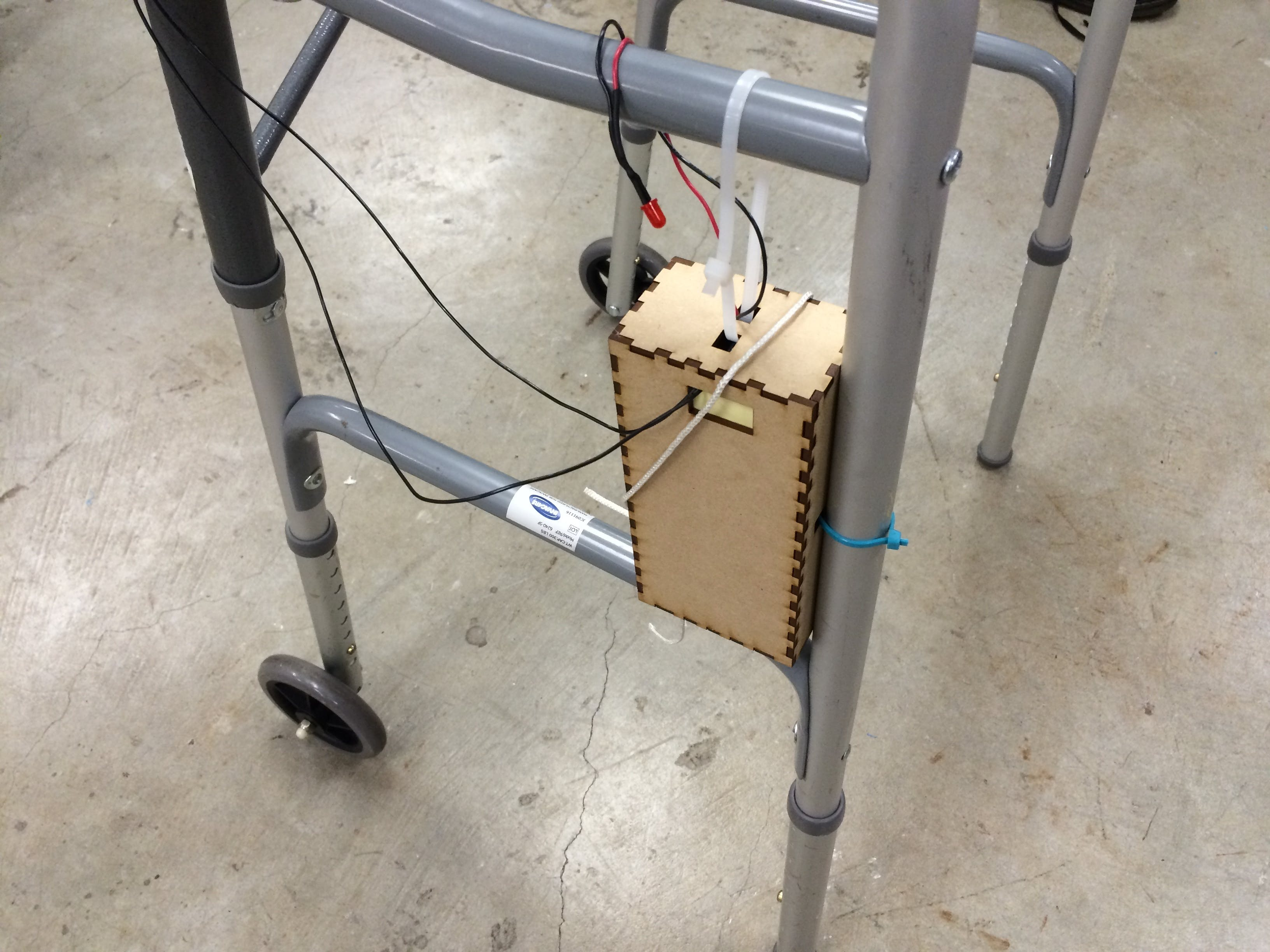 The wiring for the walker