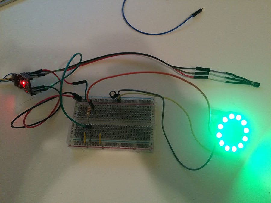 Quicky breadboard version of the NeoPixel weather wand