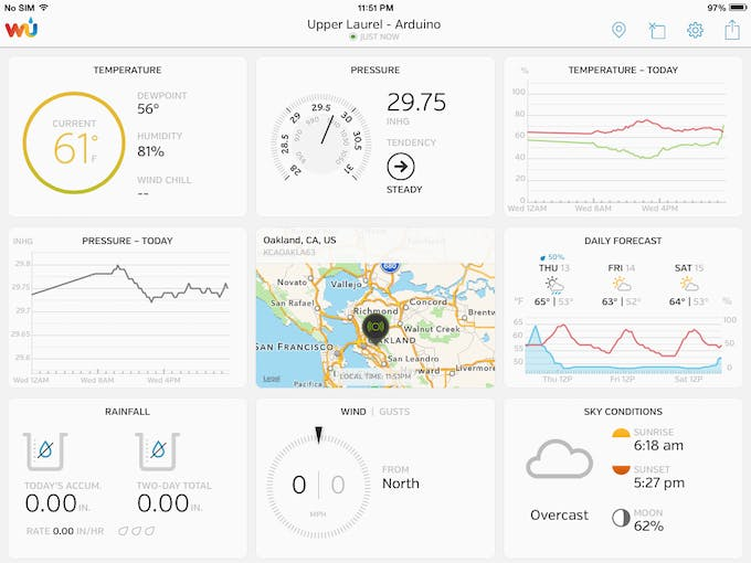 Wunderstation App to monitor the Arduino station