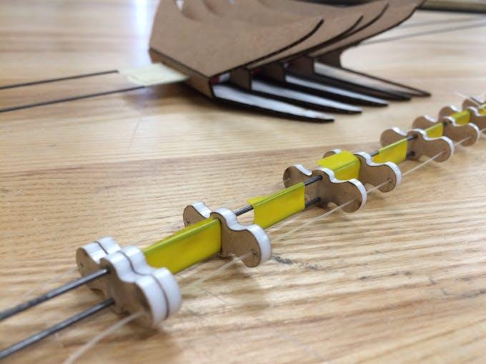 Prototype 1: acrylic spine, steel skeleton, tape spacers