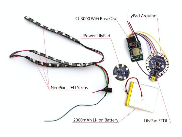 NeoPixel LEDs, LilyPad LiPower,  2000 mAh battery, WiFi CC3000, LilyPad Arduino & LilyPad FTDI
