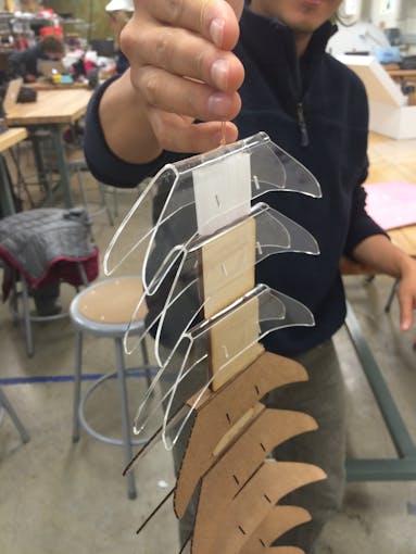 Prototype 3: Bending lasercut cardboard and acryllic, wood spacers