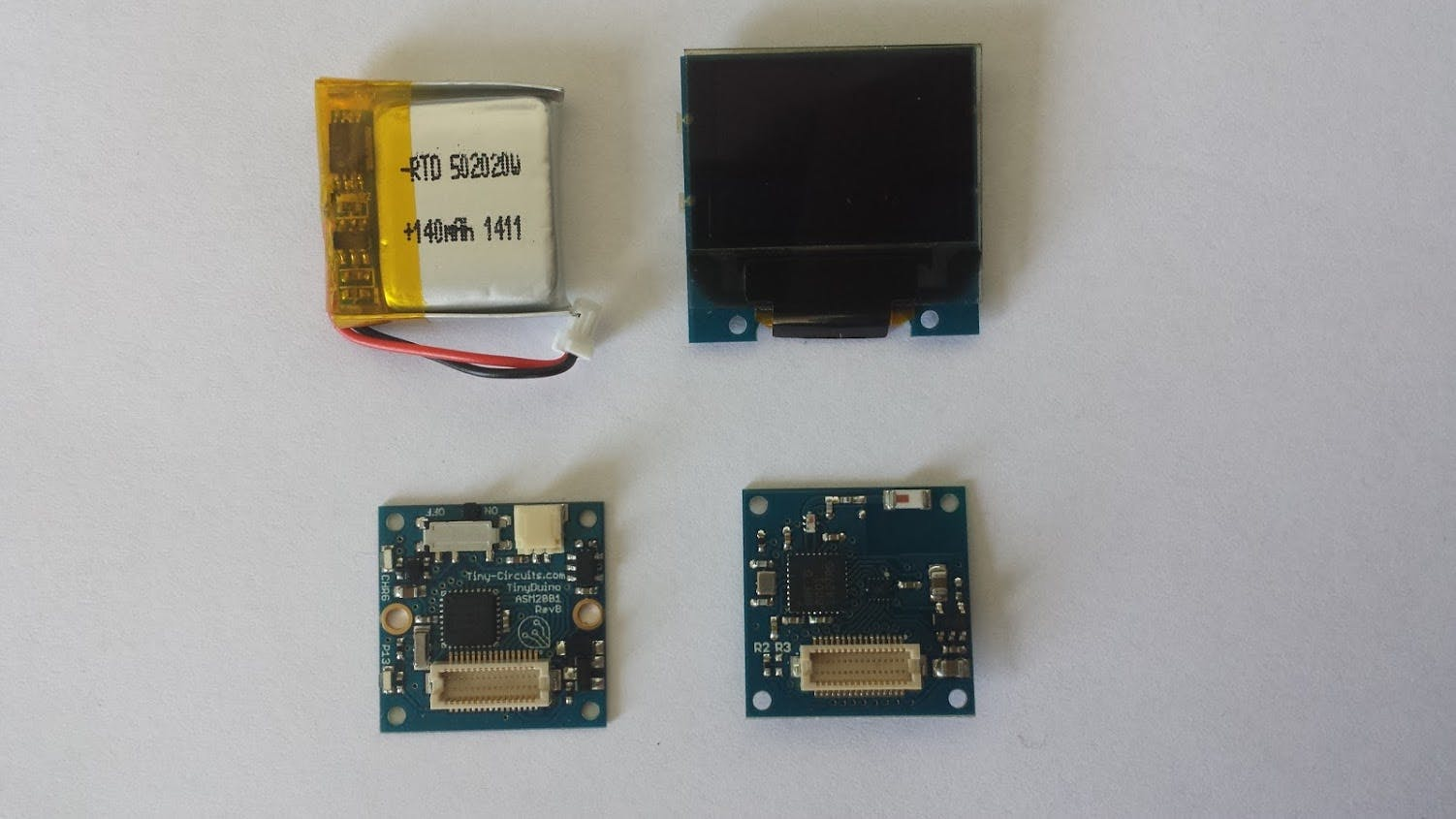 Boards used in final stack (USB used for programming and charging)