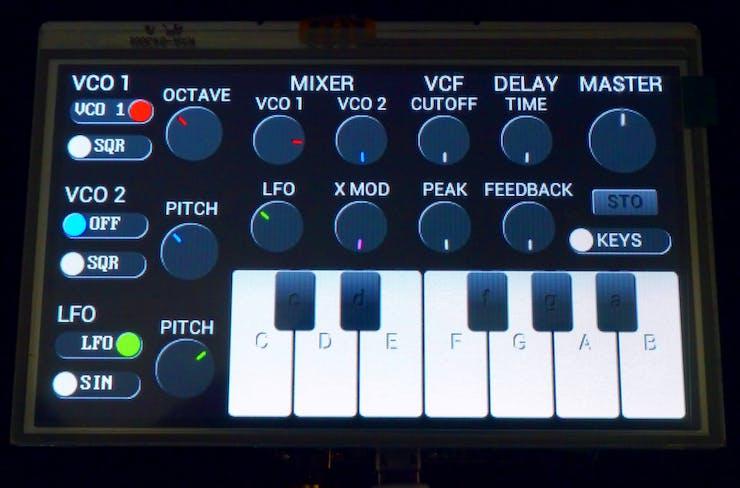 Goldilocks Analogue Synthesizer - GUI on Gameduino 2 (FTDI Chip EVE GPU)