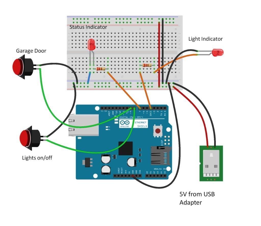 Physical Home Automation Interface Garage Door Switch Schematics