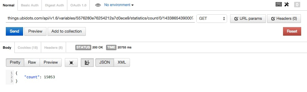 Querying the Ubidots API Statistics Endpoint to count the number of posts