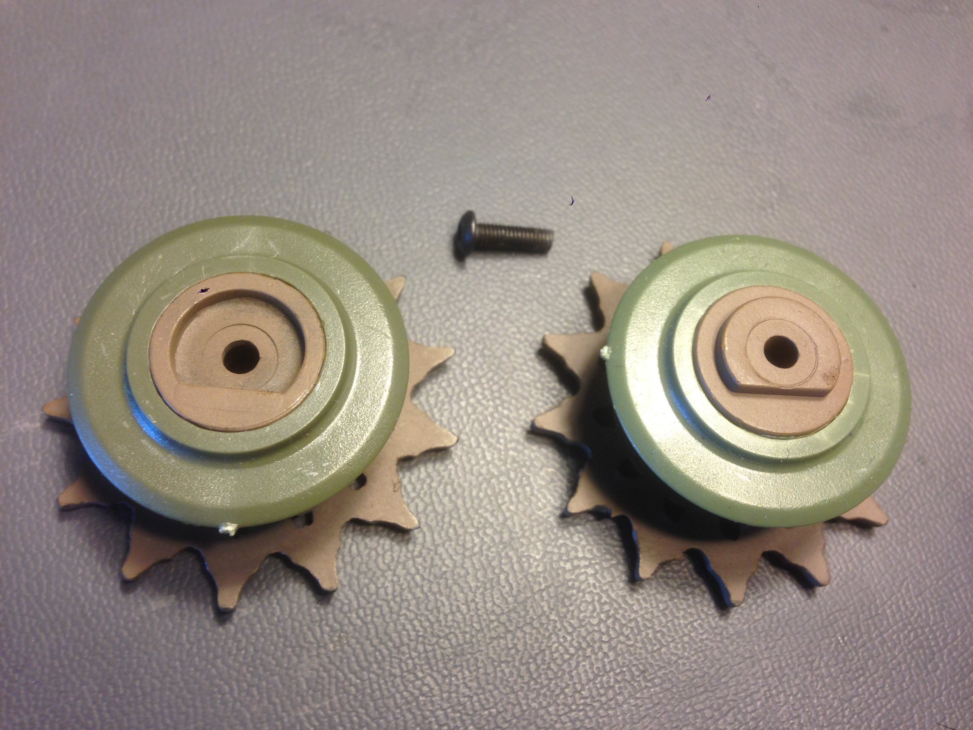 Sprocket presses together and is held in place with tongue and groove.