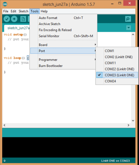 "Go to ""Tools"" in the Arduino IDE and select the COM port that corresponds to your LinkIt ONE"