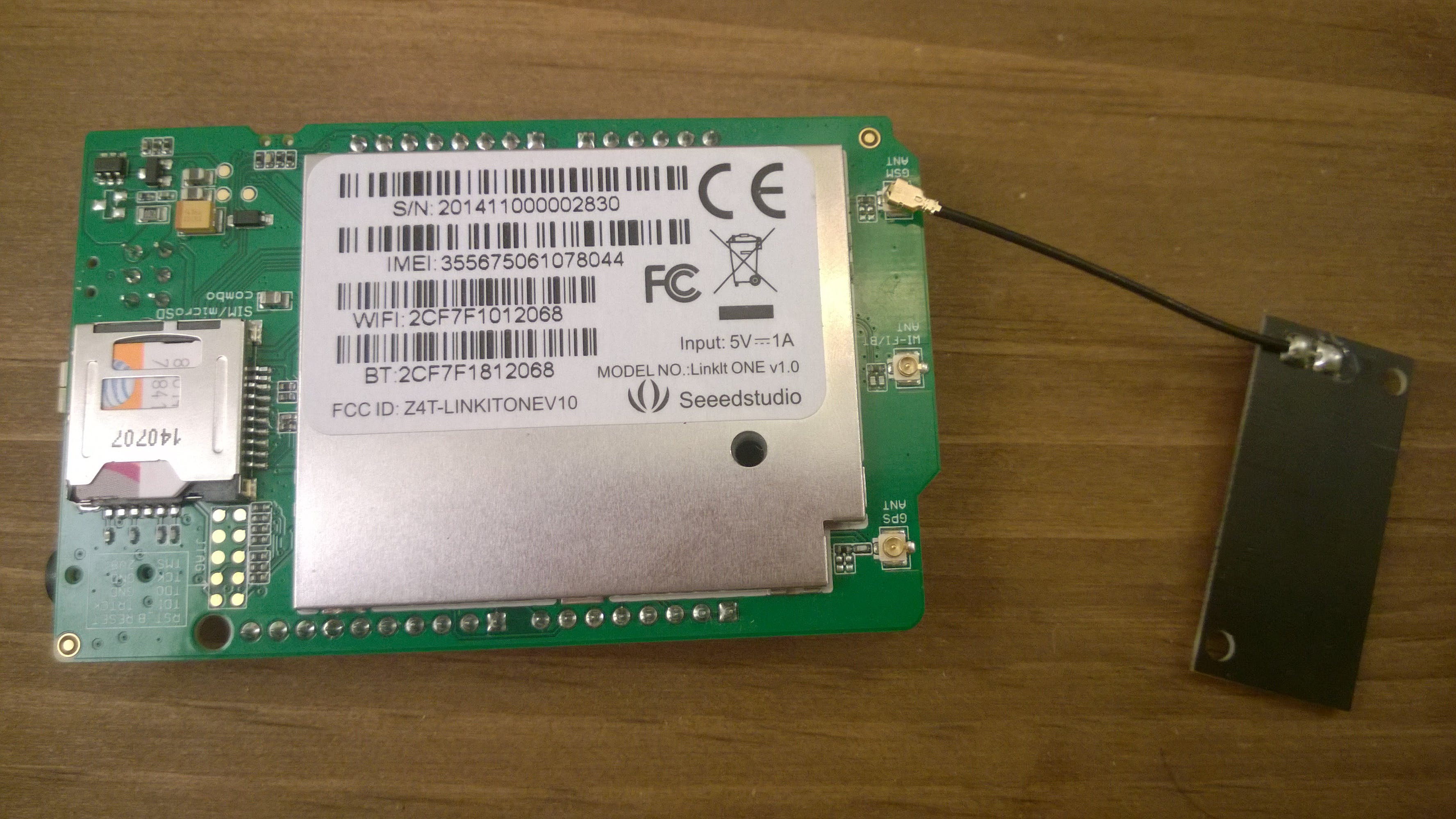 SIM card inserted and GSM Antenna attached