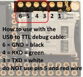 debug port pins and debug cable (colors for Raspberry PI cable, see next picture)