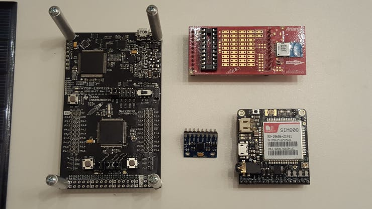 Core components of The Wingman (Right to Left: C110L, FONA808, MPU6050 and the MSP432)