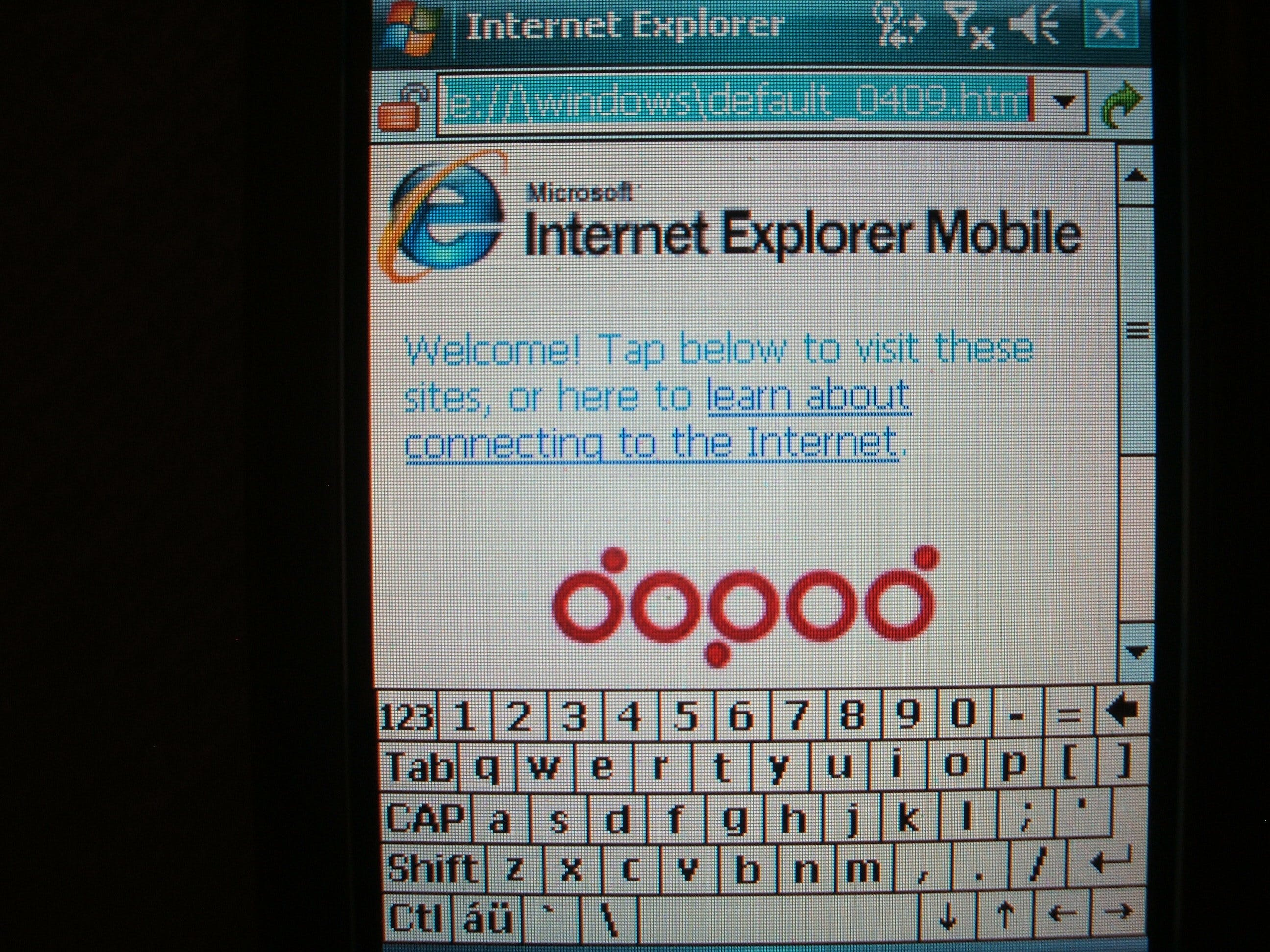 A typical Windows Mobile IE opening screen