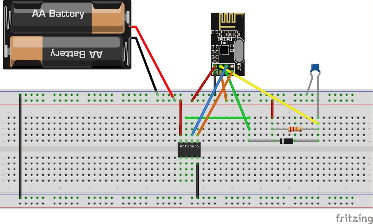 Nrf24l01 With Attiny85 3 Pins Digital Dice Circuit Diagram